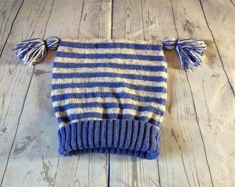stripe knitted hat, unisex hat, tassel knitted hat, children's knitted hat, kids knitted hat, winter hat, winter warmer hat, two tone hat.
