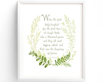 Woodland Nursery Art, When The First Baby Laughed, Printable Quotes, Wall Art Prints, Printable Art, Wall Art, Instant Download Print,