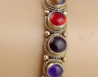 Tibetan copper 9 natural stones BRACELET, copper brass, stones jewelry, bracelet 9p1