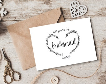 Floral wedding welcome letter and itinerary template welcome will you be my bridesmaid card template personalised vintage heart wreath editable wedding card spiritdancerdesigns Image collections