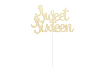 Sweet Sixteen Cake Topper - Any Color Glitter