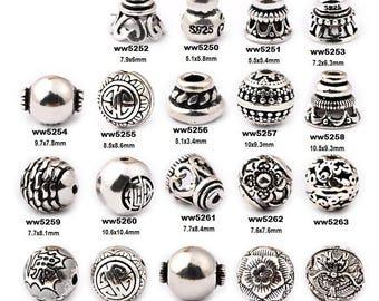 DIY 925 Yintai Silver Pagoda Buddha Head Beads for Bracelet/Necklace-WEN527745331134-GVN