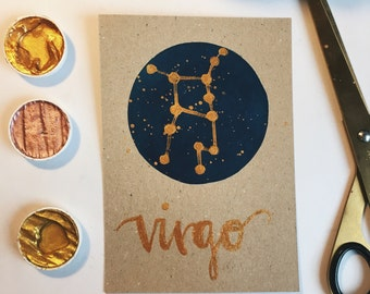 Virgo Horoscope Constellation Star Sign Print - Gold Details with Watercolour Background (a3, a4, a5, a6)