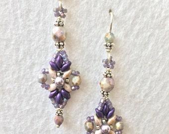 Lavender Beaded Crystal and Pearl Earrings
