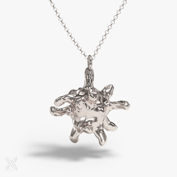 Science Jewelry: Silver Macrophage Necklace Biology Gift