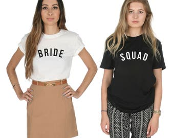 Bride Squad T-shirt Top Slogan Fashion Wedding Gift Flower Girl Bachelorette Hen Do Party Set Pack Matching