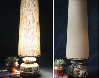West German Fat Lava lamp base with new linen cone lampshade