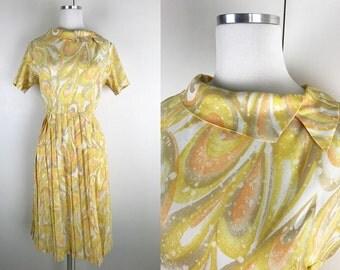 1950s 1960s Yellow Orange Tan Shirt Dress // 50s 60s Shirt Dress with Swirly Print Pleated Skirt