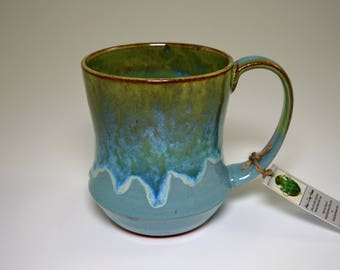 Handmade Pottery Coffee Mug in glossy turquoise blue and green glazes on red clay
