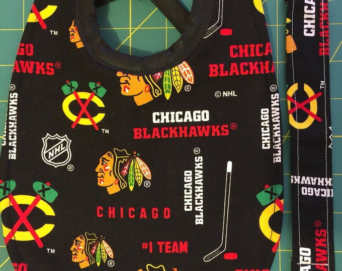 Baby Bib Chicago Blackhawks Bib and Pacifier Clip Gift Set: 2 Bib Sizes To Choose From