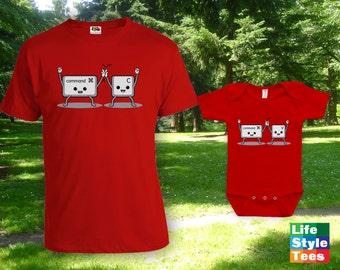 Command Copy Command Paste - Father Son Matching Shirt, Funny Geek Shirt, Family Matching Shirt, Christmas Gift, Baby Bodysuit CT-944-945