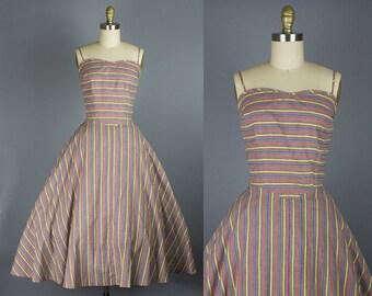 1950s cotton striped sundress/ 50s day dress/ medium