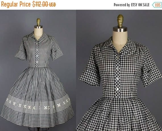 SALE 15% STOREWIDE 1950s gingham cotton dress/ 50s black and white check day dress/ small