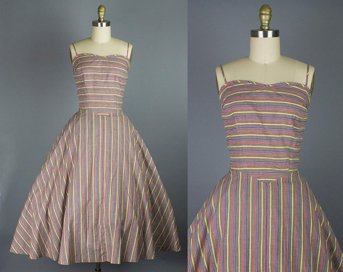 1950s cotton striped sundress/ 50s day dress/ medium