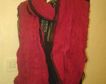 Scarf in cotton and acrylic red and Black Lace