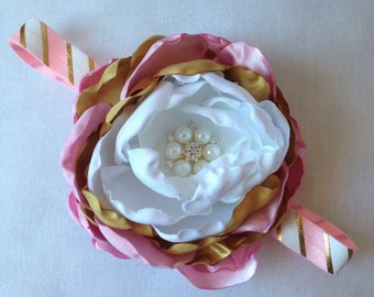 Pink and Gold Rossette Headband. Newborn-toddlers. Flower measures 4 inches.