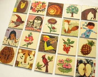 20 vintage Memory game playing cards from 1960