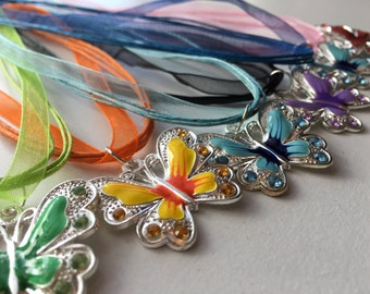 Butterfly - Ribbon necklace - Handmade - Silver charms