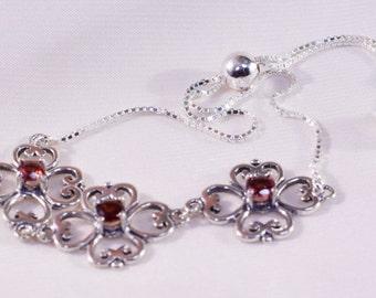 Garnet 4 mm Round Sterling Silver Adjustable Bolo Bracelet or Anklet