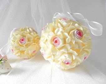 Wedding bouquet, Origami bouquet, Brides bouquet, flower, cream flowers, bridal bouquet, gift, handmade bouquet, rose flower, pink roses