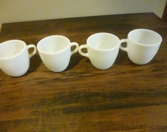 Pyrex All White  #723 Mugs Cups - Set of 4