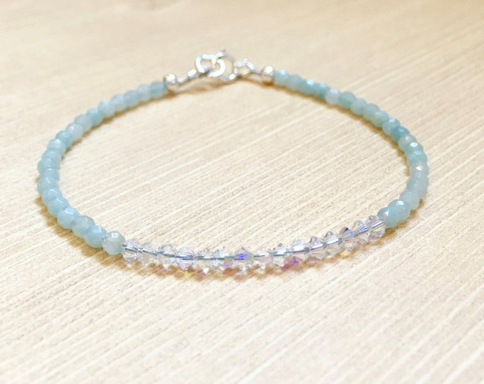 Featured listing image: Dainty Amazonite Swarovski Crystal Minimalist Style Bracelet, Dainty Jewelry, Gifts for Her