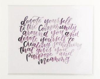 Hand Lettered Print | Community