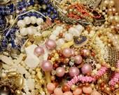 Vintage Jewelry Mystery Destash Grab Bag Lot Assemblage Wear Resale Repurpose Supplies Bracelet Earrings Necklace Brooch Ring
