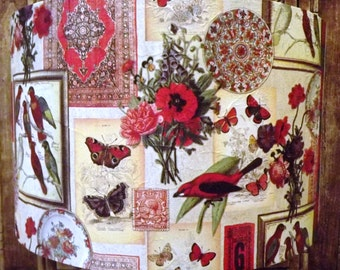 Red Bird Lampshade  shabby chic  lamp shade red cream floral, butterfly ,persian rug ,museum scrapbooking Free Gift