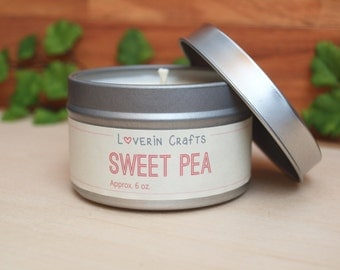 Sweet Pea | Scented Soy Candle | Vegan + Eco-Friendly | 4 oz, 6 oz, 8 oz