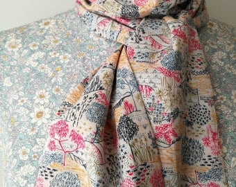 Liberty of London Little Trees Sabrina Floral Skinny Scarf Tie Thin Belt Headscarf Long Summery Cotton