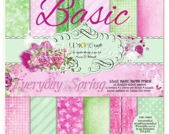 Lemoncraft Everyday Spring Basic 12x12 Scrapbook Paper Stack
