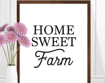 Farmhouse Decor, Home Sweet Farm, Farmhouse Print, Country Decor, Farm Decor, Farmhouse Art Print, Black and White