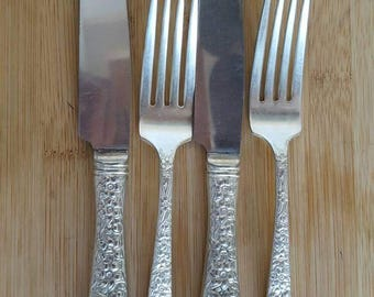 Antique National Silver 1935 NARCISSUS Hollow New French Dinner Knife & Fork, Set of 2