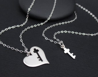 Key To My Heart Necklace Set,  Sterling Silver Heart and Key Necklace, Mother Daughter Necklace Set, Mother Daughter Heart and Key Set