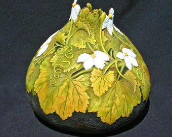 Hand Carved Gourd with Gourd Flowers and Leaves