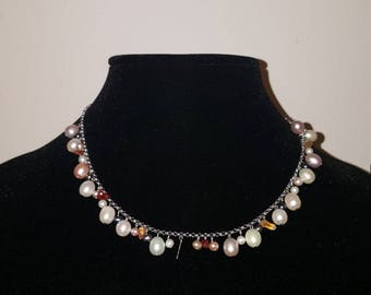 Beautiful 925 Sterling,Pearl & gemstone necklace