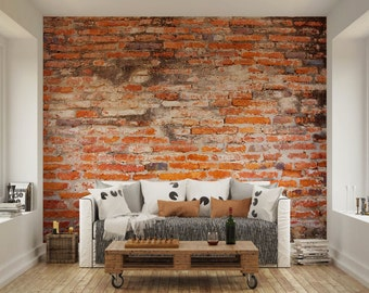 Brick wall decal etsy uk for Brick wall decal mural