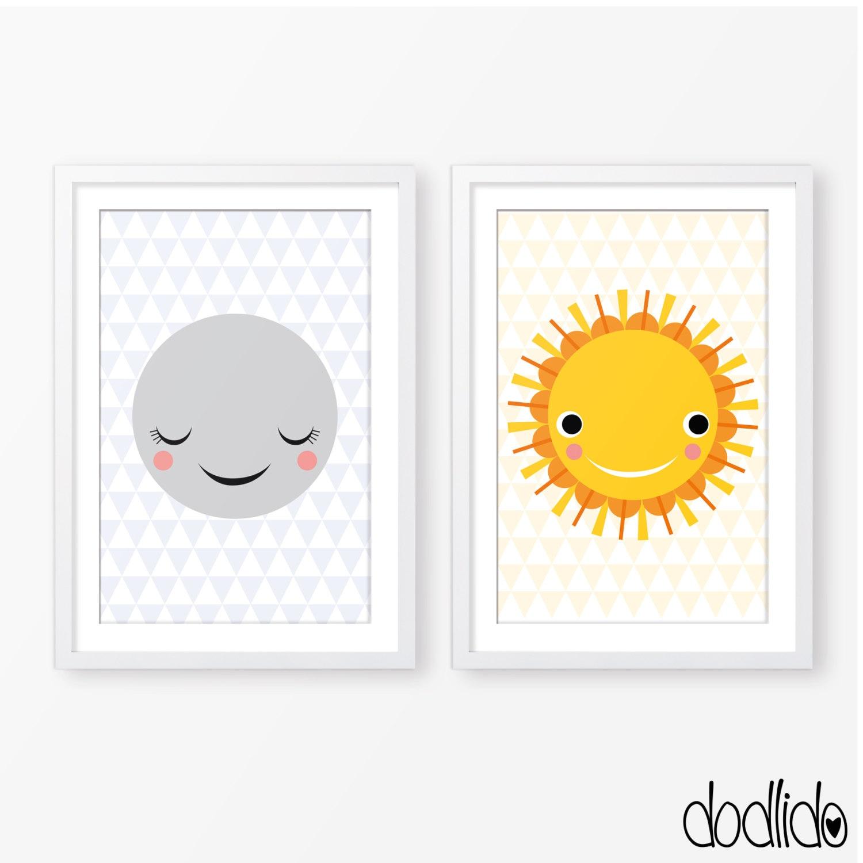 sun and moon children 39 s illustrationkids posternursery. Black Bedroom Furniture Sets. Home Design Ideas