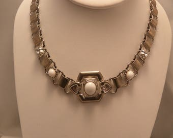 Vintage White Cabochon & Rhinestone Silver Tone Book Chain Necklace