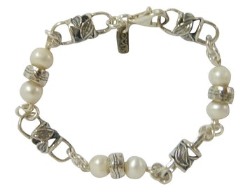 shablool sterling silver 925 Bracelet with pearls b1078