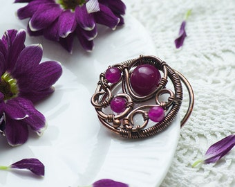 Eleane - copper brooch with jadeite,handcrafted,wire wrapped,perfect gift,elvish,nature inspired,cerise,rustic,vintage,dark pink,handmade