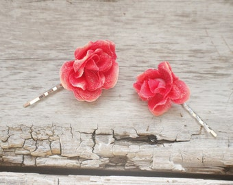 Bridal Hair Pins, Wedding Hairpins, pink/red rose flower Hair Pins, flower Bobby Pins, Hair Pins - Set of 2 , fairy dress up, red hair pins