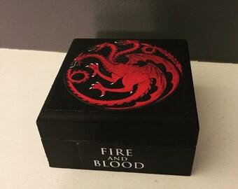 Wood keepsake box, Game of Thrones, House Targaryen, keepsake box, Jewelry box