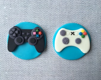 12 PlayStation 3 and XBox game controller fondant cupcake toppers