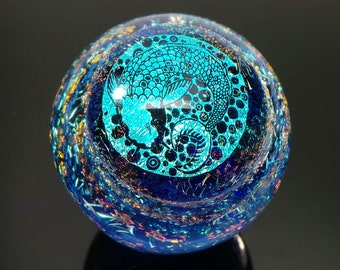 42mm Double Lucky Koi Fish - Pisces over Dichroic Swirl Borosilicate Glass Lampworked Marble