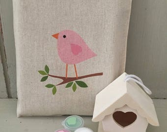 Personalised paint & design your own wooden bird house in 20 x 25cm cotton gift bag - pink bird or owl
