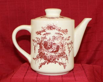 Vintage California Pantry Red Rooster Teapot