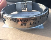 Personalized bracelet with blank Genuine Leather for Her or His