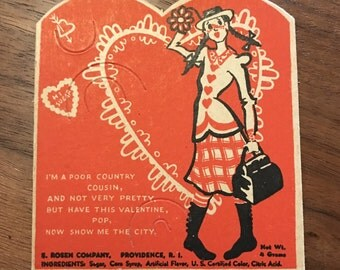 1940's E. Rosen Company Valentines Card / Candy Holder / Poor Country Cousin